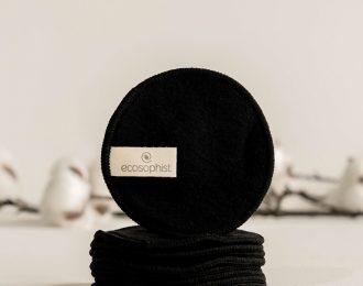 Black Reusable Cotton Pads Organic Bamboo x 6 Pcs